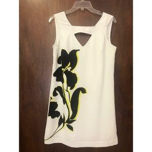Banana Republic white dress w/ black and yellow